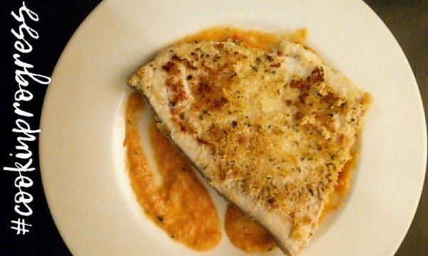 Pesce Spada in crosta su crema di Marzanino e porri
