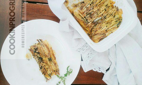 Tortino di patate e acciughe con origano