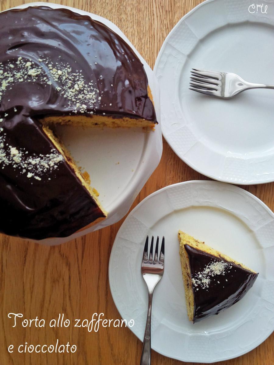 Torta allo zafferano e cioccolato