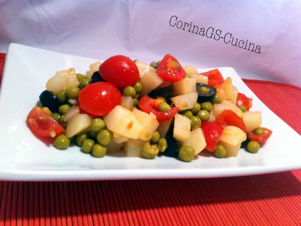 Insalata di patate e piselli-Ricetta antipasto estivo-CorinaGS-Cucina