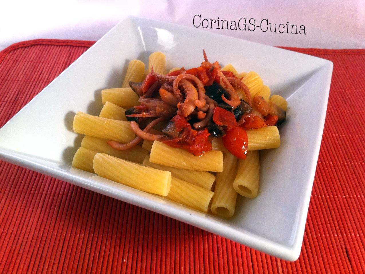Pasta con ciuffi di totani, pomodorini e melanzana-CorinaGS-Cucina