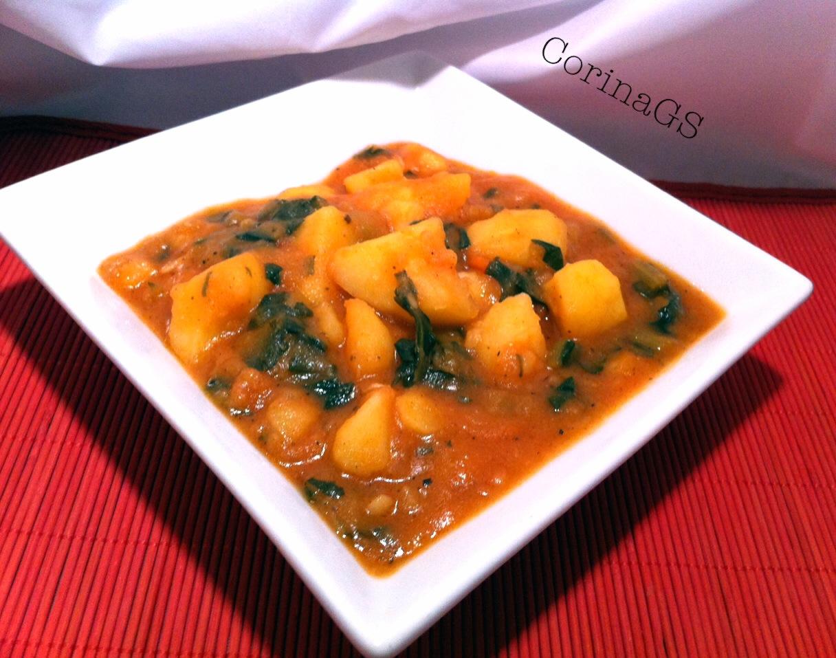 Patate con catalogna (cicoria ) in salsa di pomodoro|CorinaGS