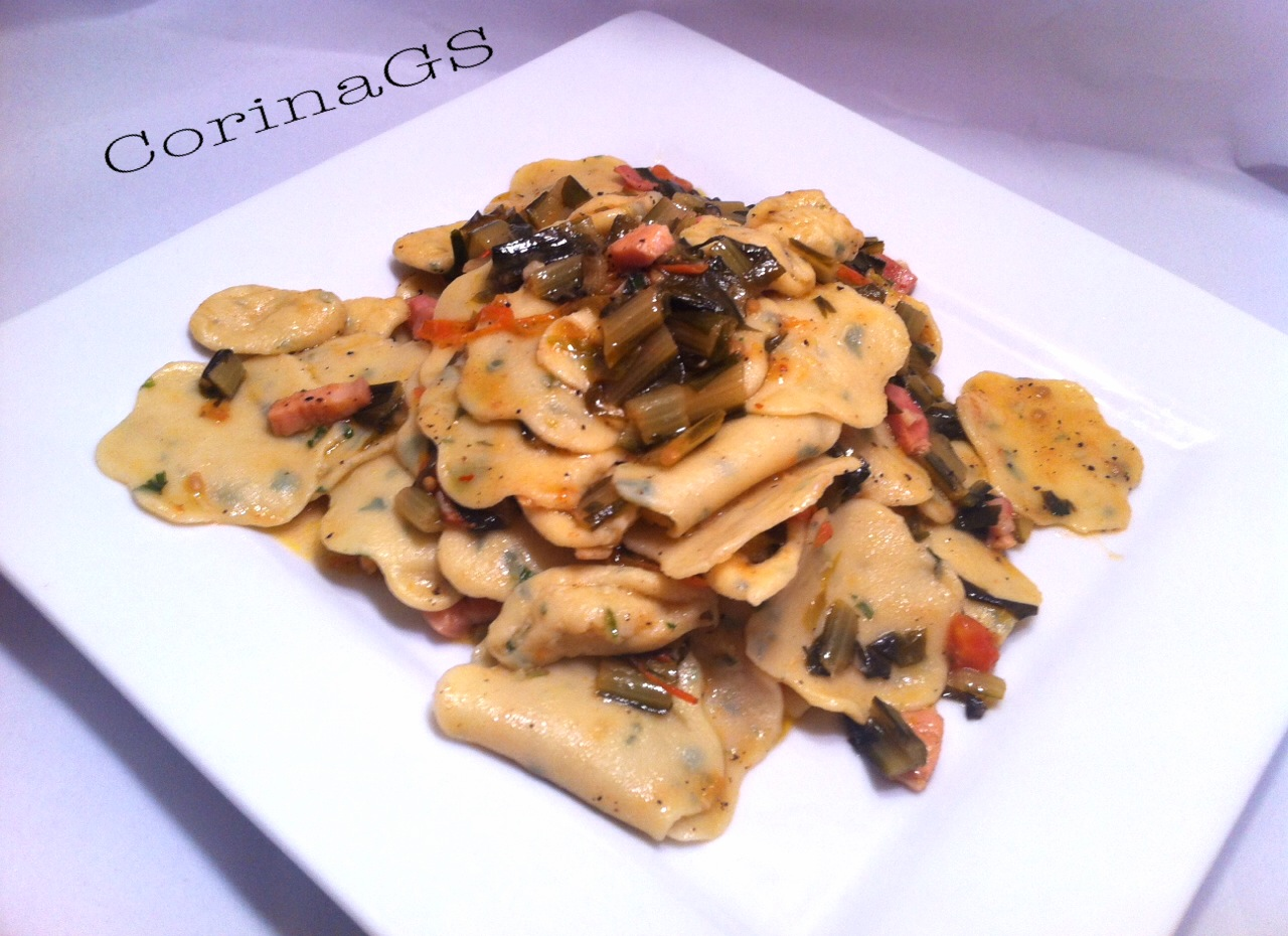 Pasta con pancetta e catalogna-Ricetta base pasta fatta in casa-CorinaGS