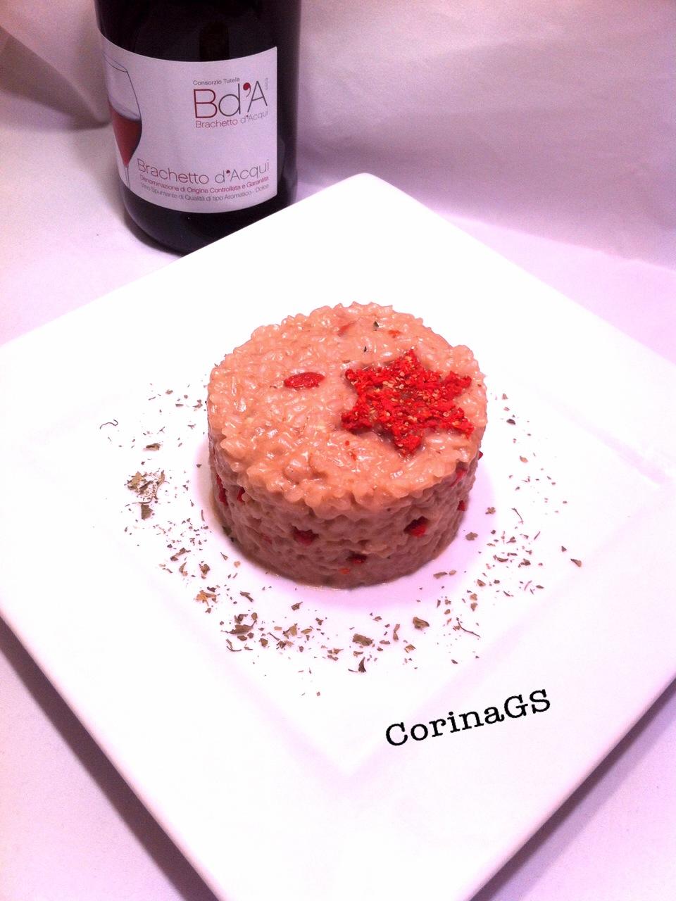 Risotto al vino rosso bacche di goji e noci-CorinaGS