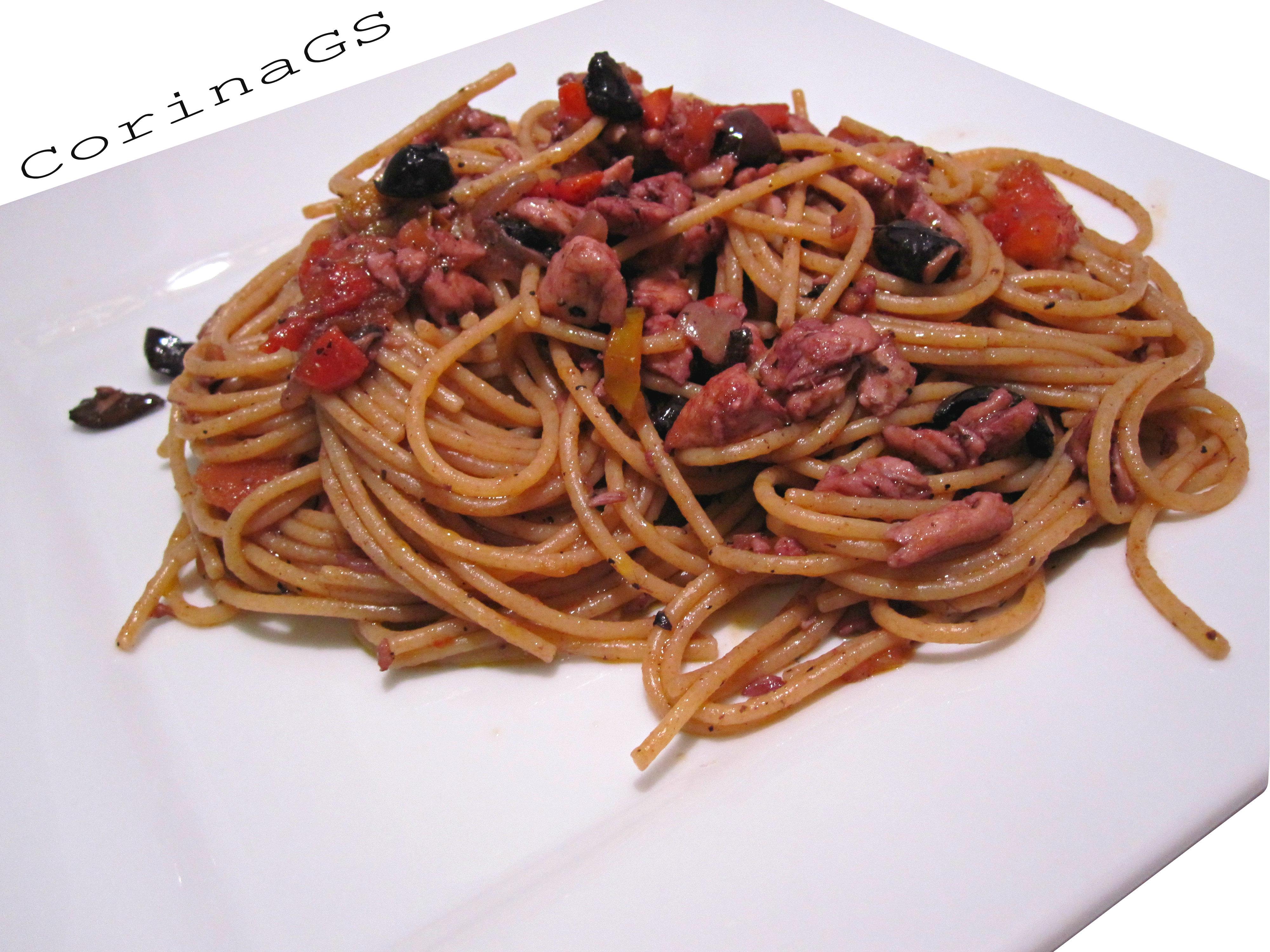 Spaghetti integrali con sugo di pesce-Ricetta primi piatti-CorinaGS