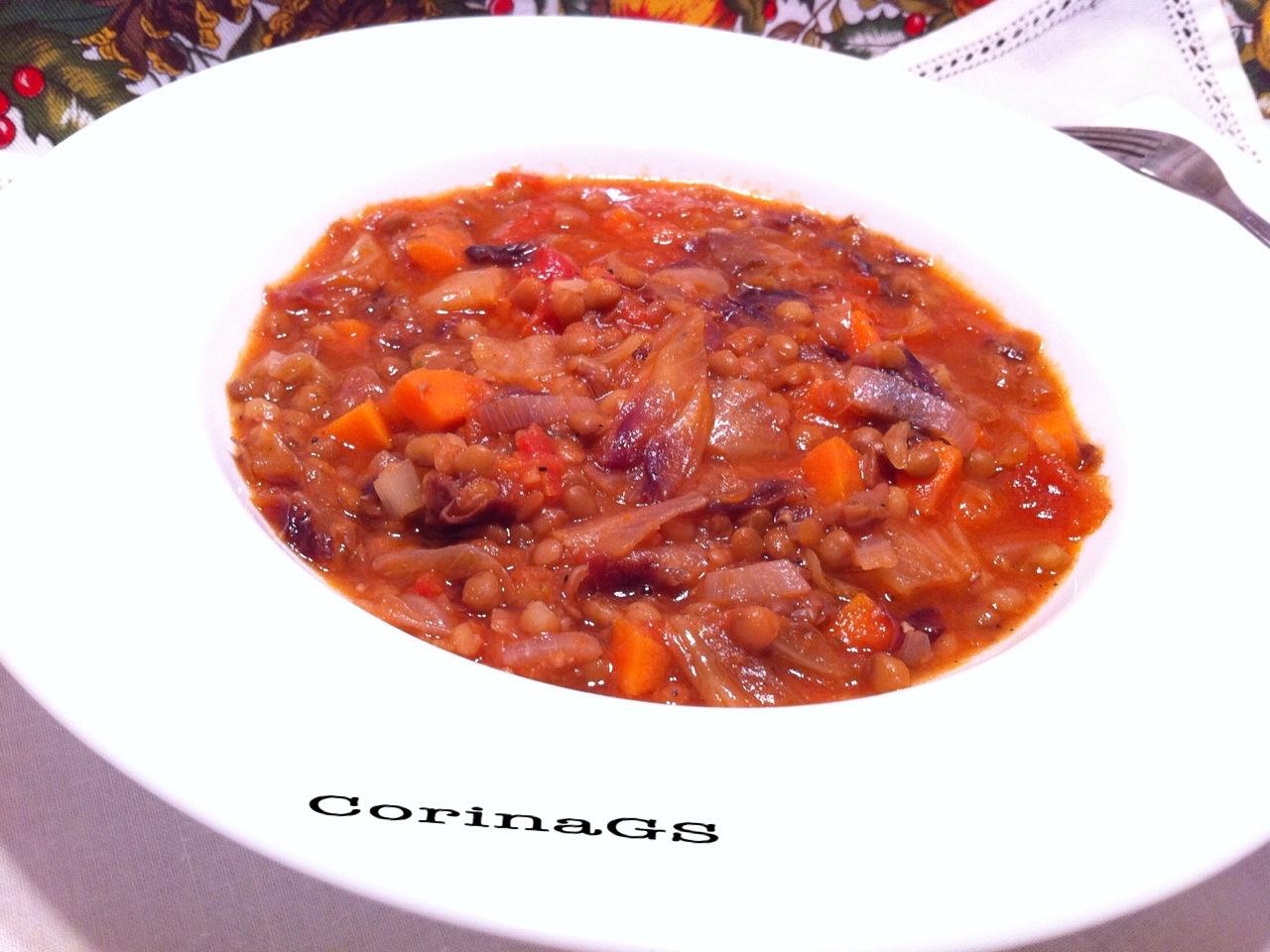 Lenticchie con radicchio|Ricetta vegan|CorinaGS