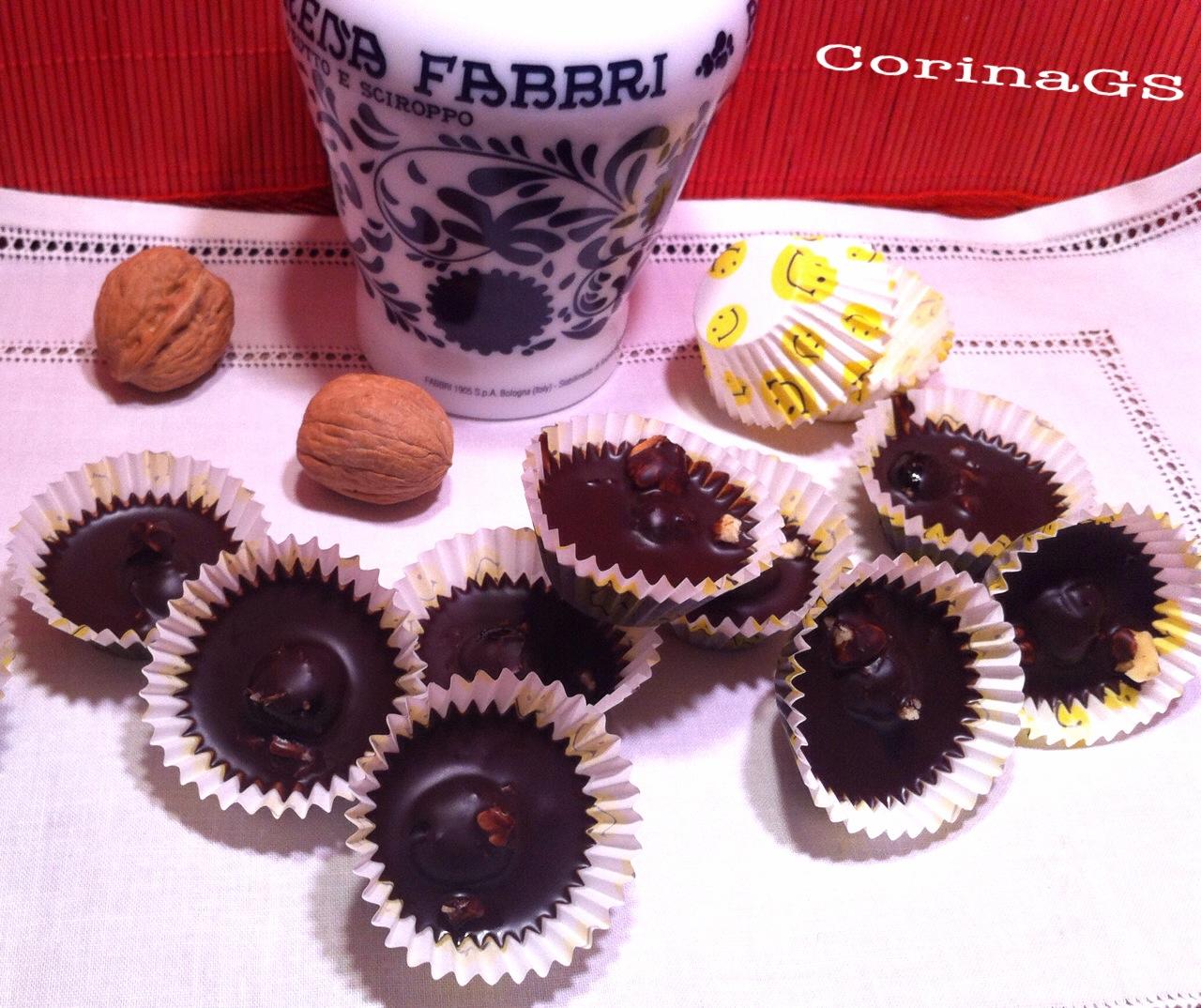 Praline al cioccolato , noci e amarene|Ricetta dolci|CorinaGS