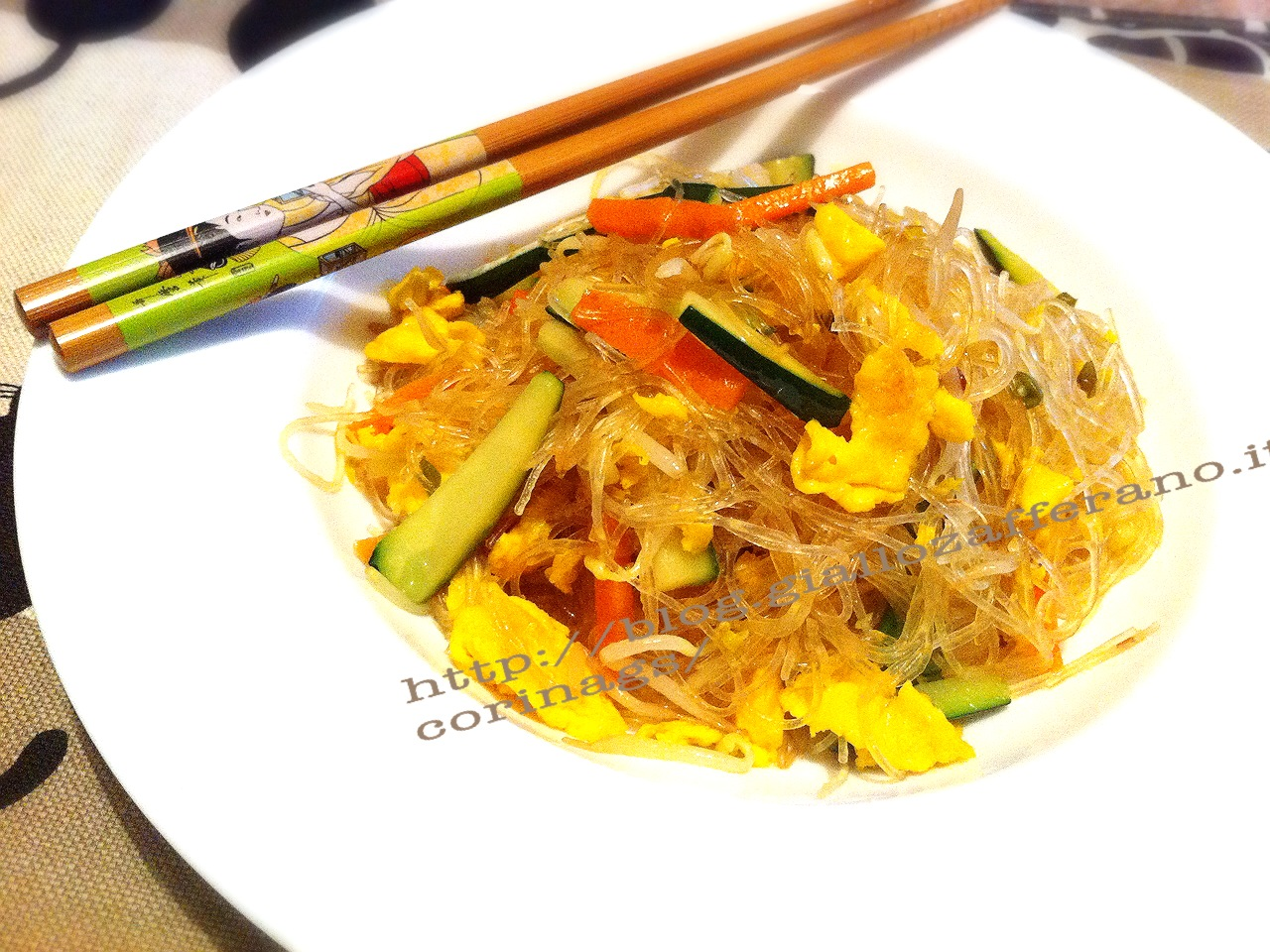 spaghetti soia verdure ricetta