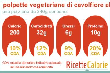calorie polpette vegetariane cavolfiore