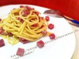 Spaghetti alla crema di mandorle e prosciutto cotto d'oca|CorinaGS