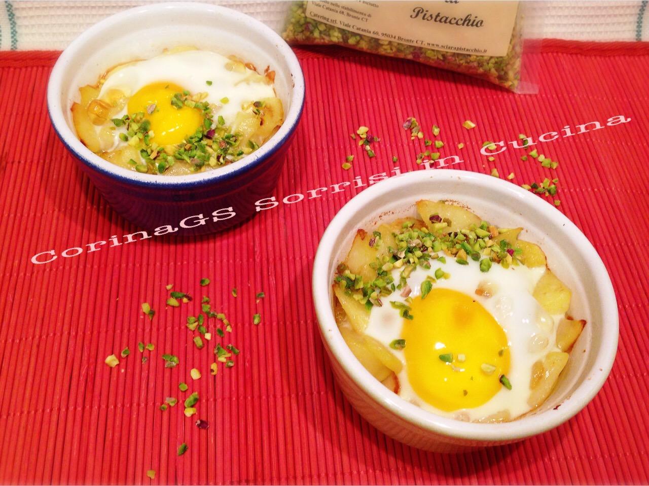 Uova in cocotte con patate, formaggio e pistacchio|CorinaGS