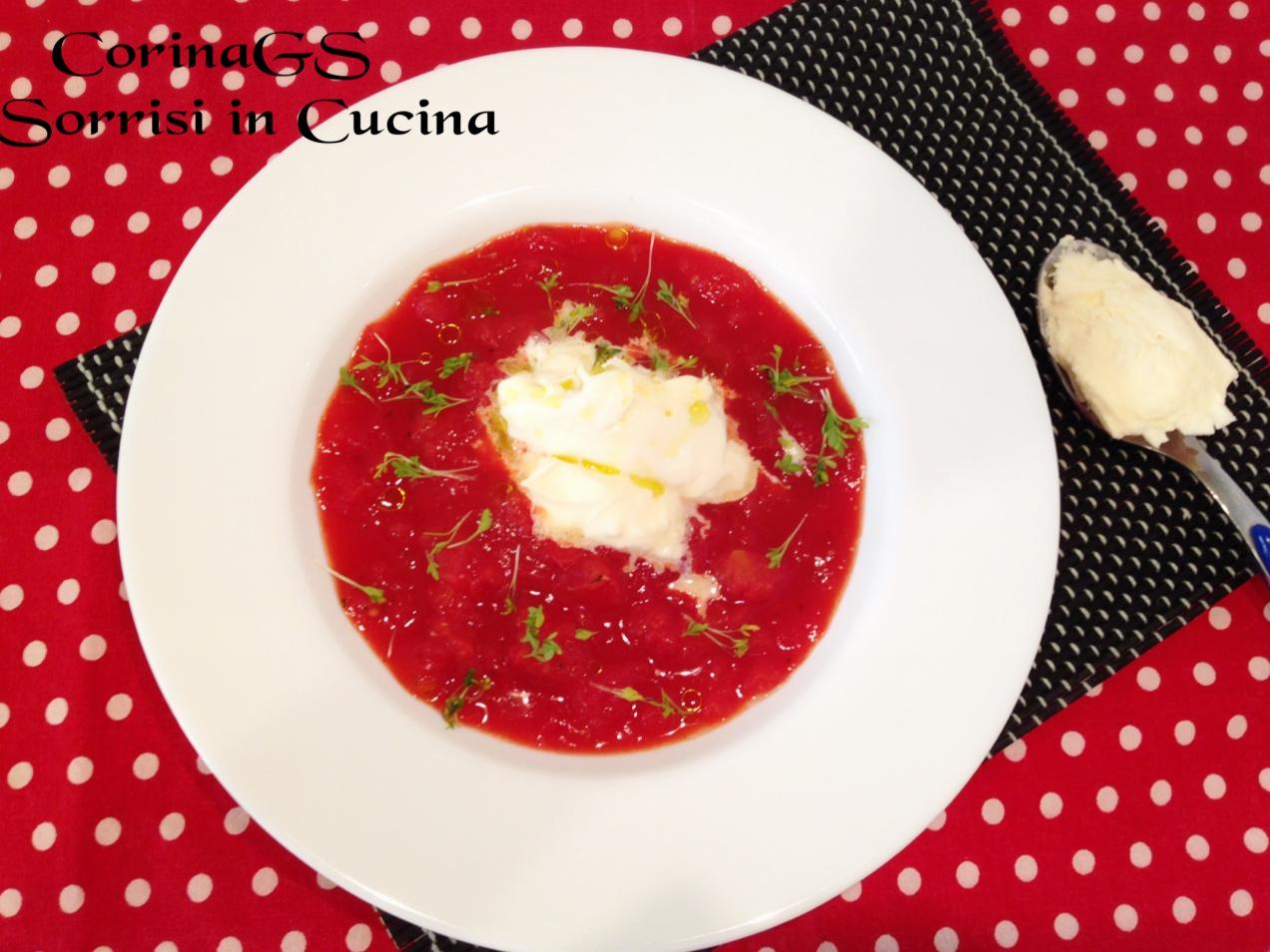 Zuppa di pomodoro con burrata e germogli di crescione