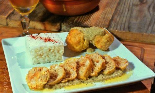 Polpette di pollo al curry e funghi champignon