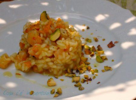 Risotto alle nespole, gamberetti e granella di pistacchi tostati