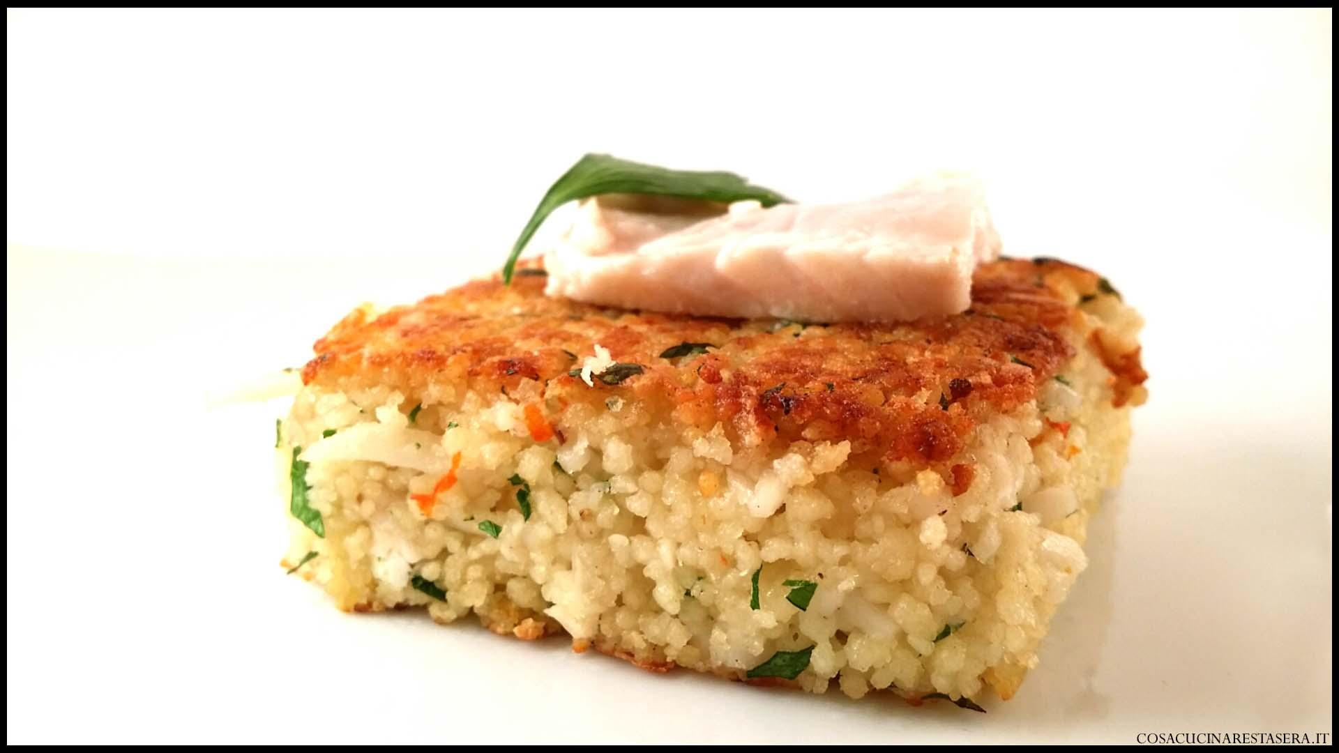 Quadri di pesce spada al couscous e granchio cosa for Cucinare granchio