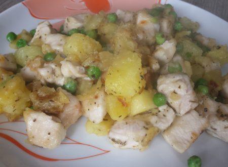 Pollo, patate e piselli