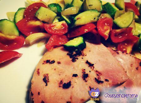 Prosciutto con verdure spadellate