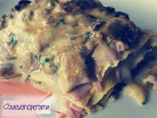 Lasagne ai champignon e prosciutto cotto