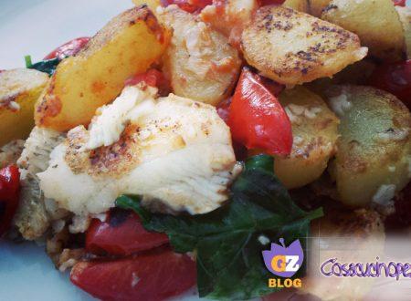 Platessa con pomodorini e patate