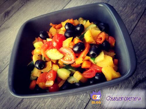 Ratatouille di verdure con olive nere