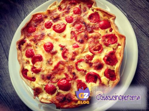 Torta salata caciotta e pomodorini