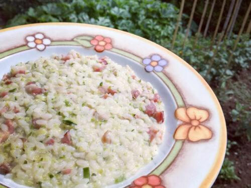 Risotto cremoso zucchine e pancetta