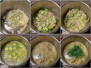 preparazione del risotto zucchine e gamberetti