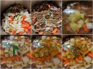 preparazione della vellutata di lenticchie e curcuma
