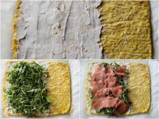 preparazione del rotolo di frittata con rucola e salmone