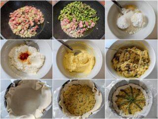 preparazione della torta salata asparagi e pancetta