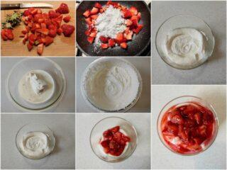 preparazione della mousse di ricotta e fragole