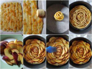 farcite la crostata con la marmellata, decoratela con la pesca e infornatela