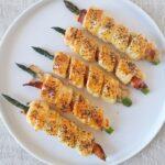Asparagi in crosta di sfoglia con speck e parmigiano