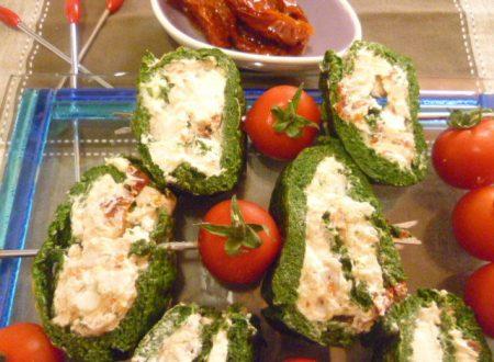 Spirali di spinaci con crema di gamberetti