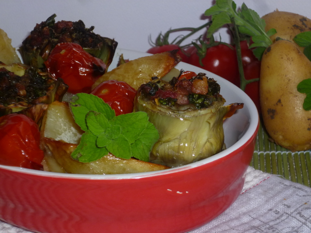 carciofi e patate in teglia