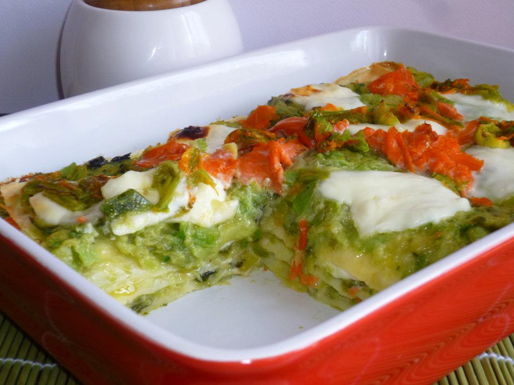 lasagne zucchine salmone e burrata