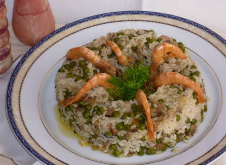 timballo di riso con funghi e gamberi