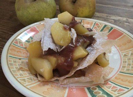 millefoglie scomposta di mele e crema al cioccolato