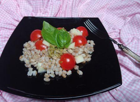 insalata di farro con pomodorini Asiago e basilico