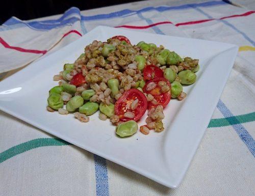 insalata di farro con fave pesto e pomodorini