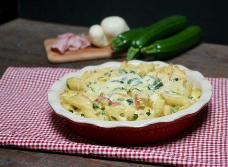 pasta al forno con praga, scamorza e zucchine