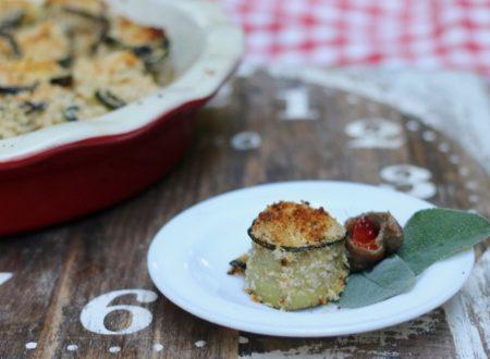 Involtini di zucchine con briciole acciughe e pomodori secchi