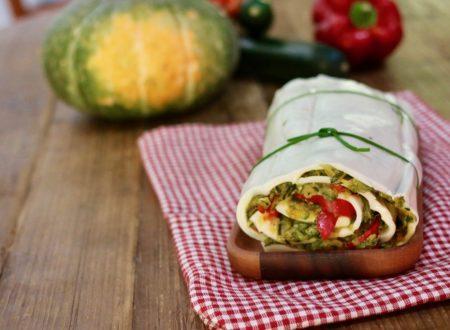 sfoglia di mozzarella fatta in casa con verdure saltate