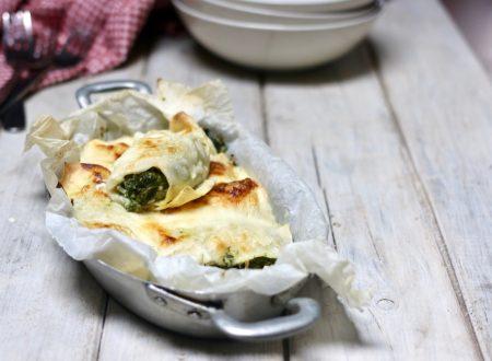 cannelloni di crêpes con ricotta e spinaci