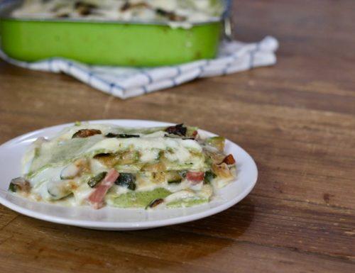 lasagna bianca con zucchine e speck