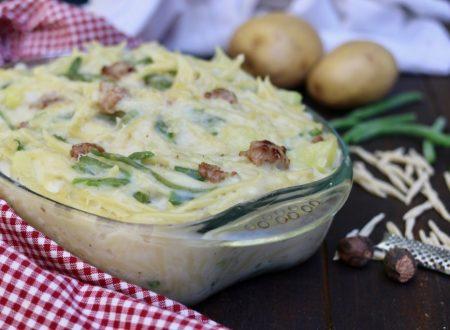 trofie al forno con patate scamorza salsiccia e fagiolini