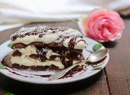 dolce cremoso di ricotta con pavesini cocco e cioccolato