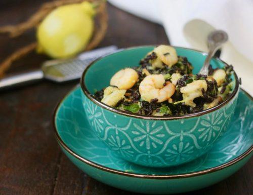 insalata di riso venere con zucchine gamberi e limone