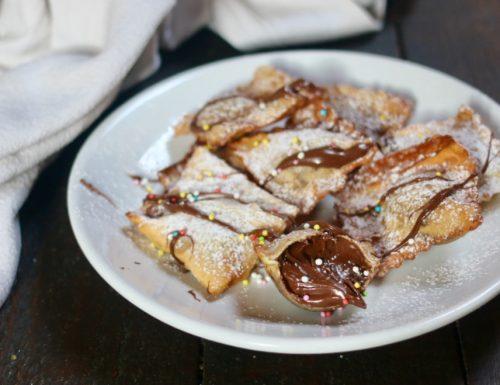 ravioli fritti alla nutella cremosa