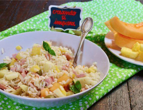 riso freddo con ananas e melone